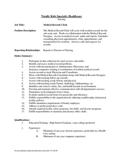 Sle Resume For Records Assistant Document Clerk Sle Resume Pc Specialist Sle Resume