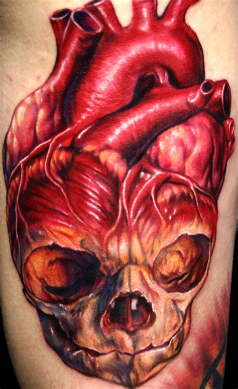 human heart tattoo skull human