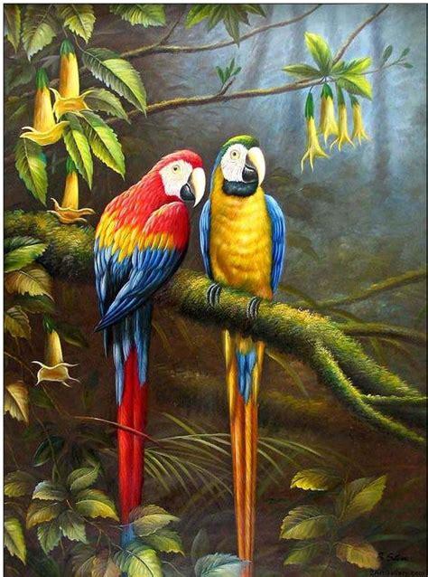 famous bird artist animal oil painting jungle parrots wedding party parrots