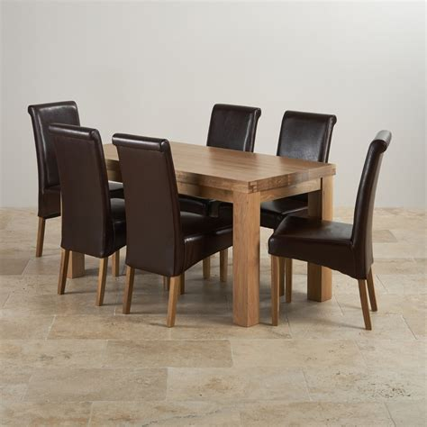 solid oak table with 6 chairs contemporary dining set in oak table 6 brown leather chairs