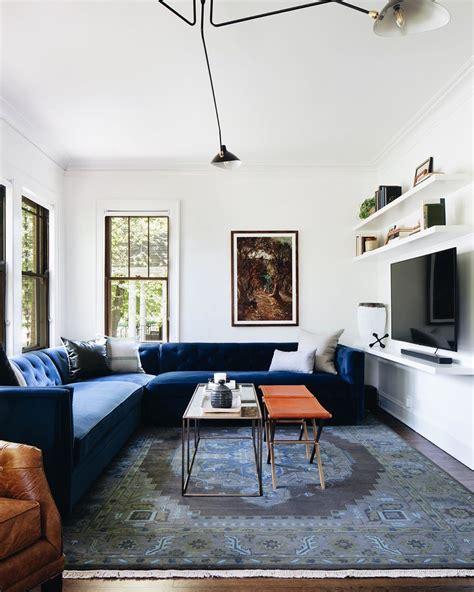 velvet blue sectional long narrow living room narrow
