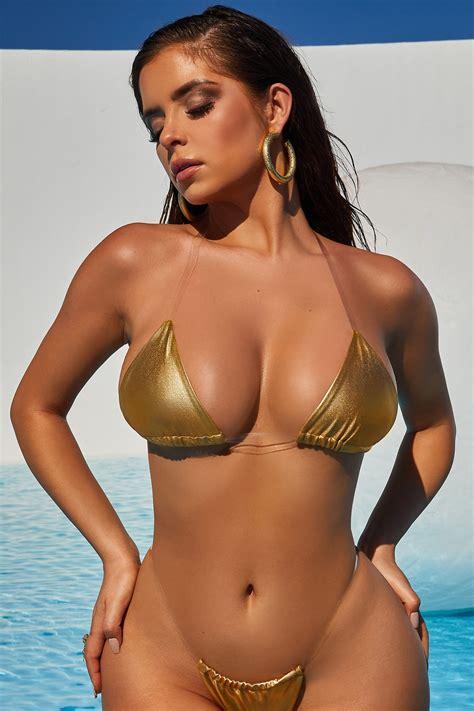 midnight skinny dipping metallic clear strap micro bikini