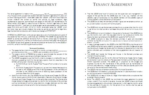 tenancy agreement template free agreement and contract