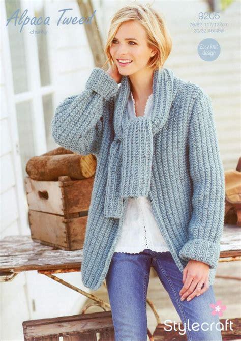 stylecraft knitting patterns to stylecraft 9205 knitting pattern scarf neck jacket in
