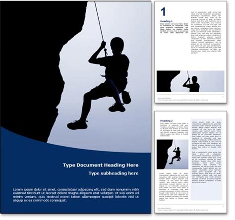royalty free rock climbing microsoft word template in blue