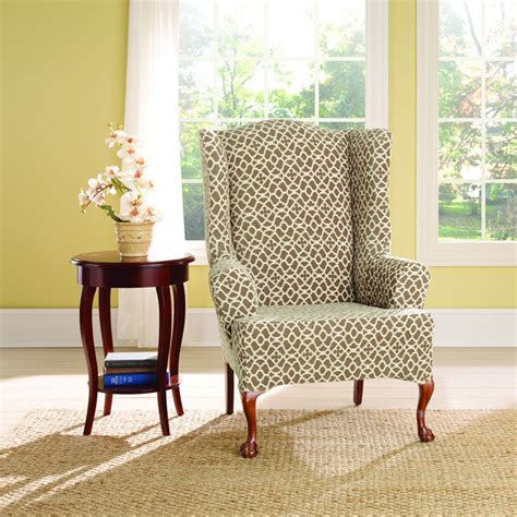 patterned wingback chair covers wingback chair slipcover for comfortable seating homesfeed