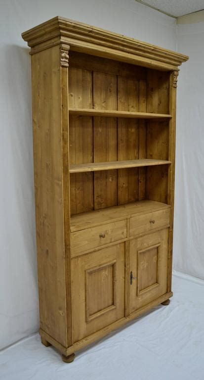 Pine Bookcase With Two Doors And Two Drawers For Sale At Pine Bookcase With Doors