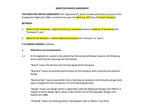 director contract template director service agreement template uk template