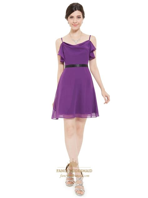 To Dress Violet violet chiffon a line spaghetti chiffon cocktail dress with black belt fancy bridesmaid