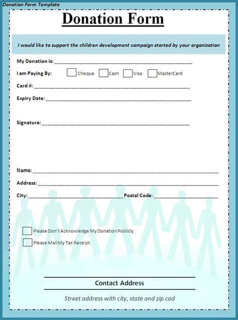 charity donation form template donation form template free formats excel word