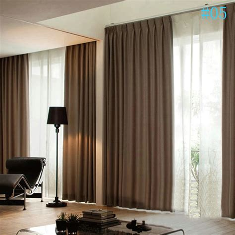 modern simple plain color linen blackout curtains premium custom curtains living room dining room curtains
