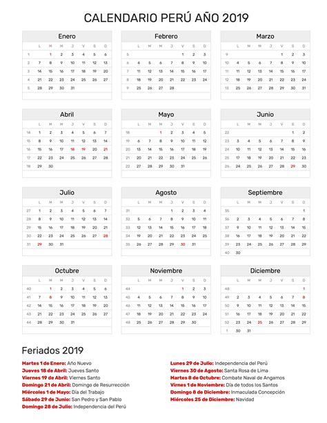 Calendario 2018 Y 2019 Calendario Per 250 A 241 O 2019 Feriados