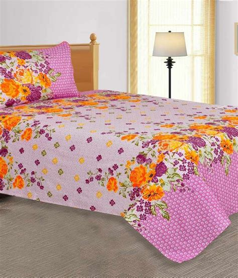 floral bed sheets salona bichona pink cotton floral single bed sheet buy