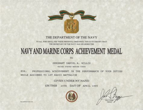 marine corps certificate of achievement template