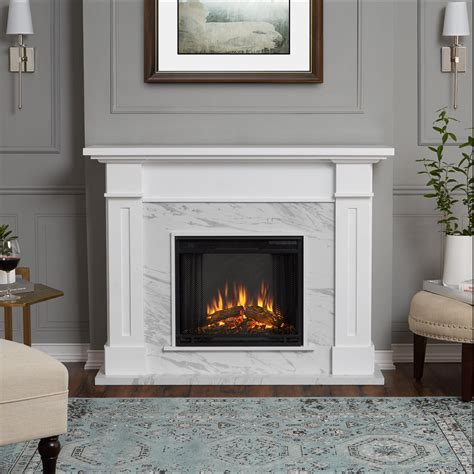 Real Flame Kipling 53 Inch Electric Fireplace With Mantel White Fireplace Mantel