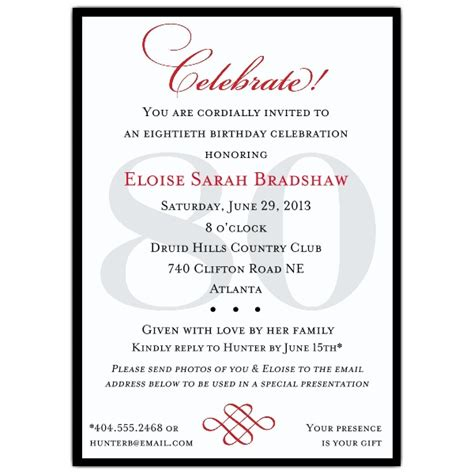 classic 80th birthday celebrate invitations paperstyle