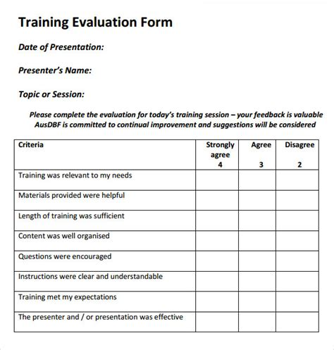 training evaluation form images