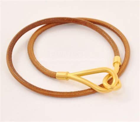 H302 Gold hermes leather wrap bracelet brown x gold tone