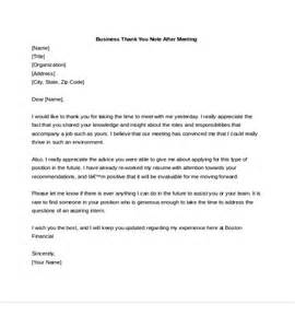 Thank You Letter After Meeting With 7 Business Thank You Notes Free Sle Exle Format Free Premium Templates