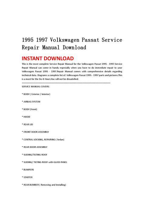 service manual 1997 volkswagen passat roof trim removal volkswagen passat 1995 1997 repair 1995 1997 volkswagen passat service repair manual download by hytggse issuu