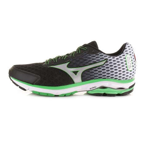 mizuno wave rider mens running shoes mens mizuno wave rider 18 black silver green trainers