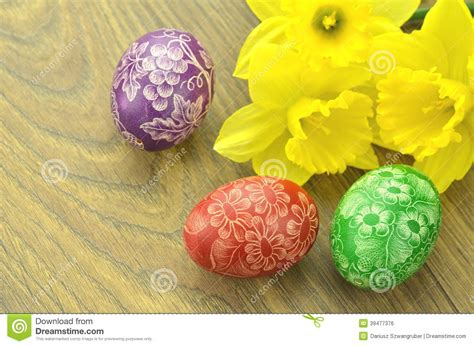 Handmade Easter Eggs - scratched handmade easter eggs stock photo image 39477376