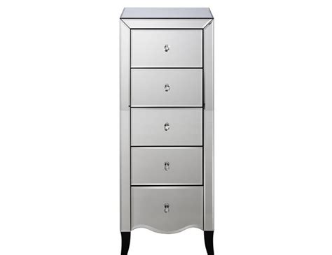 5 Drawer Mirrored Chest by Palermo Mirrored 5 Drawer Narrow Chest