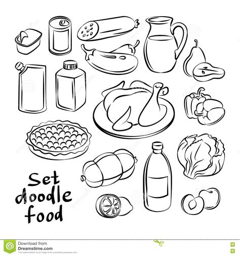 goldendoodle food food objects freehand doodles food collection