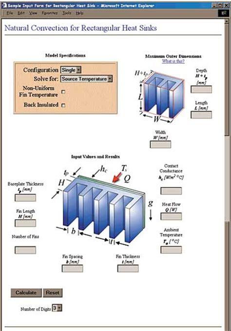 heat sink calculator convection modeling of heat sinks using web based