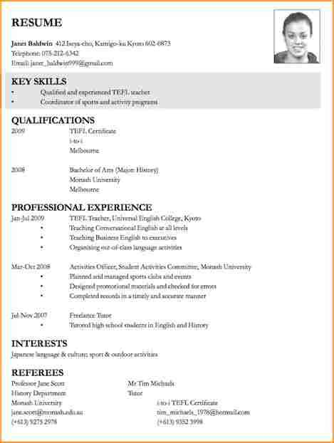 exle of curriculum vitae for application 10 cv format for application basic appication
