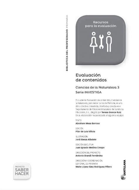 Saber Hacer 3 De Primaria Ciencias Sociales Evaluacion De Contenidos | naturales 3 primaria saber hacer naturaleza primaria
