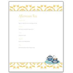 basic menu template hosting a tea an afternoon tea menu template for
