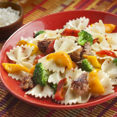 bowtie pasta with sweet mini peppers broccoli sausage
