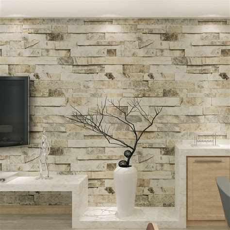 Floor And Decor Corona Wall Paper Vinyl 3d Brick Stone Effect For Living Room Tv