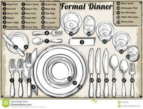 formal dinner setting vintage hand drawn place setting formal dinner stock