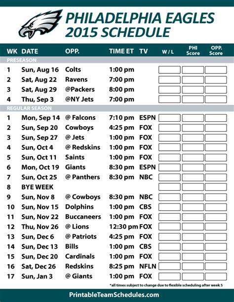 printable version of nfl schedule philadelphia eagles 2015 schedule printable version here