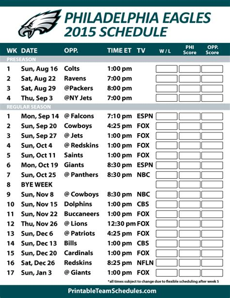 philadelphia eagles  schedule printable version