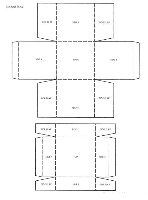 Paper Box With Lid Template Square Box Template With Lid A Copy Of This Template Miniature Box With Lid Templates Free