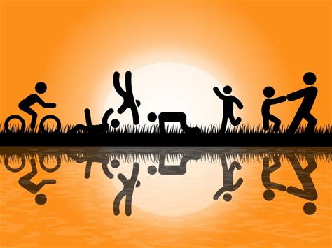 People Exercise In Park Backgrounds Black Cartoon Games Orange Templates Free Ppt Grounds Free Fitness Powerpoint Templates