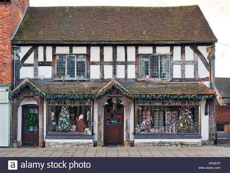 christmas shop stratford upon avon nutcracker stock photos