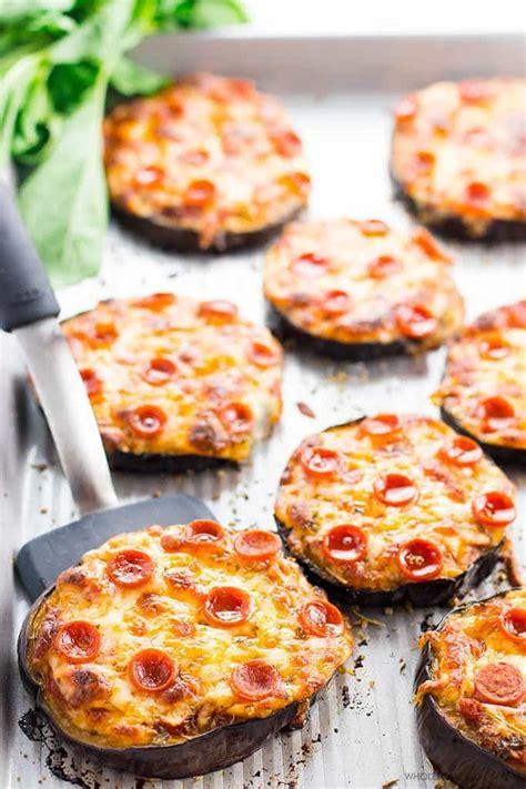easy  carb mini eggplant pizza recipe video wholesomeyum