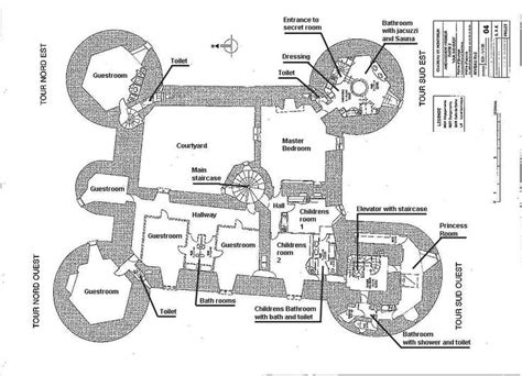 castle style floor plans ch 226 teau de montbrun plan du second 233 tage castles