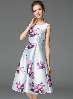 Print Sleeveless A Line Midi Dress dresses skater dresses sleeveless flower print a line