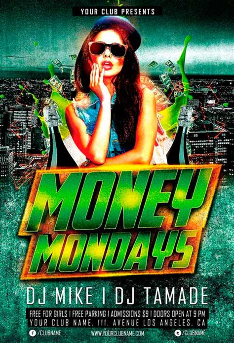 Money Monday Party Flyer Template For Photoshop Awesomeflyer Com Money Flyer Template