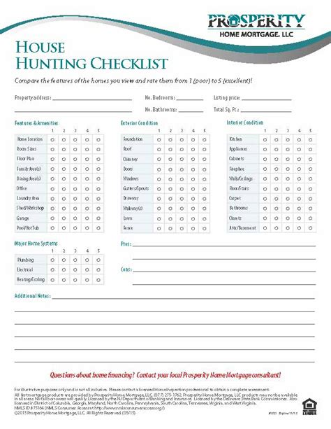 printable house buying checklist house hunting checklist prosperity home mortgage llc