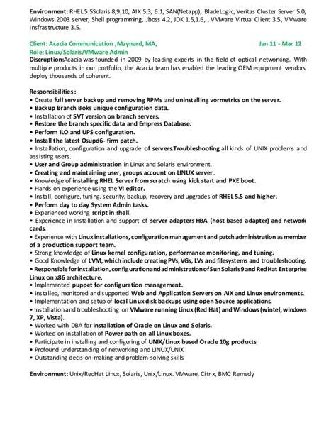 sle resumes for vmware administrator rama linux solaris vmware admin resume