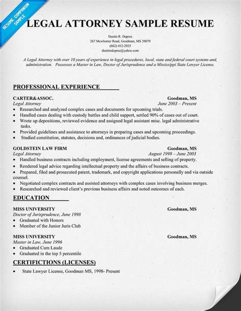 Resume Writing Tips For Lawyers Resume Format Resume Format Sles