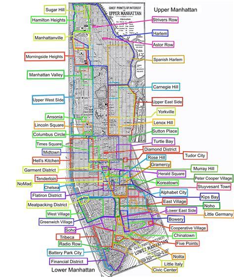 map of neighborhoods neighborhoods of manhattan 1600x1894 mapporn