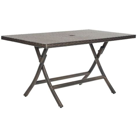 Folding Patio Tables Safavieh 55 1 In Dilettie Brown Rattan Folding Patio Dining Table Pat2003a The Home Depot