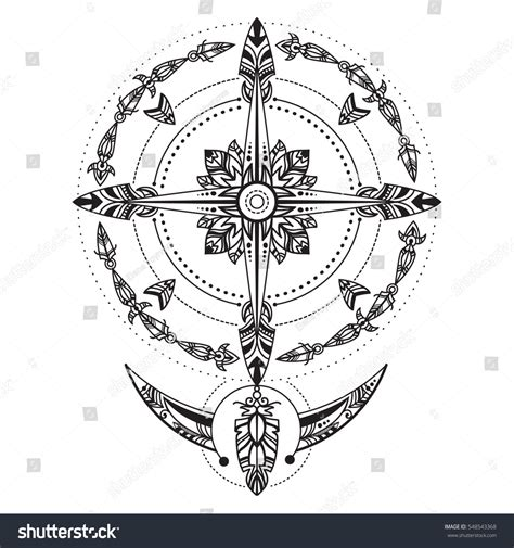 compass tribal tattoo bohemian compass compass vintage boho tribal stock vector